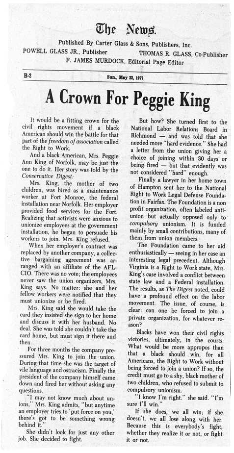 Peggie King Article