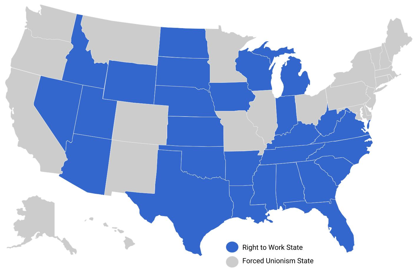 Labor Union States Map.National Right To Work Foundation Right To Work States