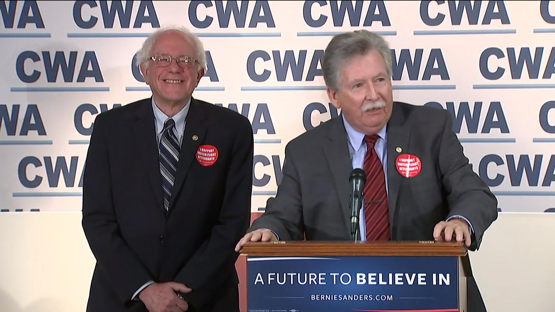 Sen. Bernie Sanders (Right) and Chris Shelton (Left)