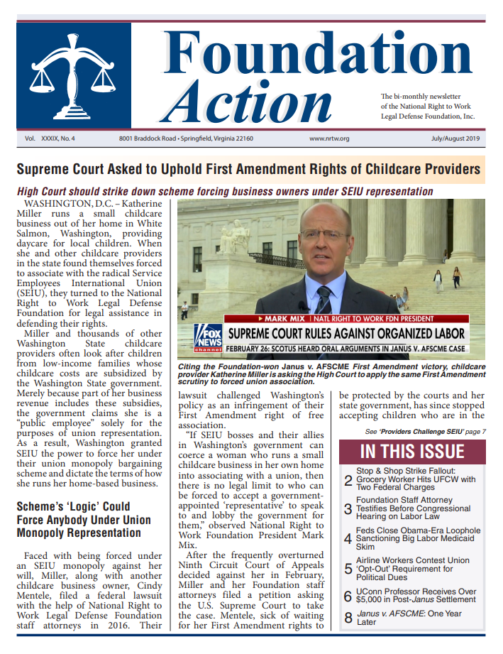 Cover July August 2019 Foundation Action Newsletter National Right to Work Legal Defense Foundation Inc