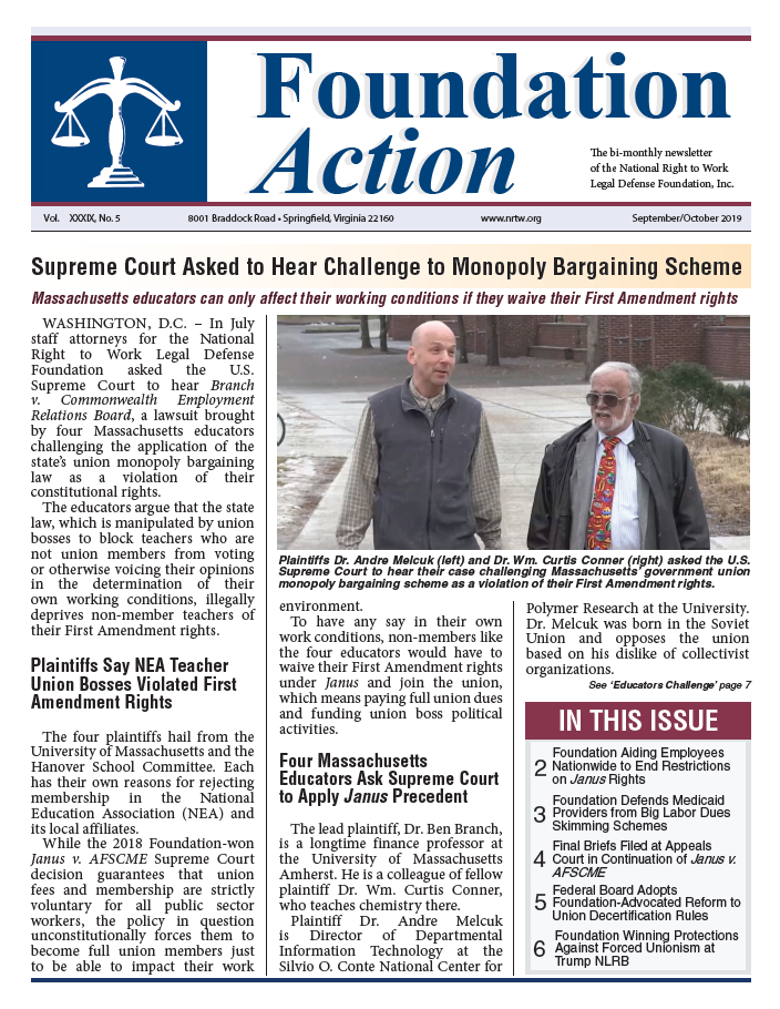 National Right to Work Foundation Action Newsletter Cover September October 2019 Issue